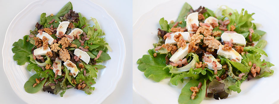 Salad with goat cheese, walnuts and bacon