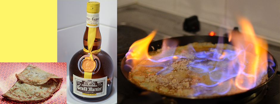 French Crepes with Orange-flavored brandy liqueur (Grand  Marnier)