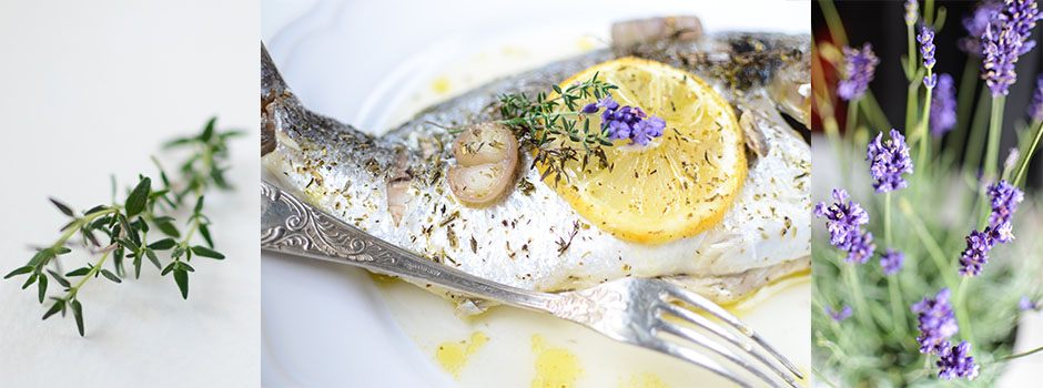 Gilt-head bream (fr. Daurade) baked with shallot, Wine & Lavender