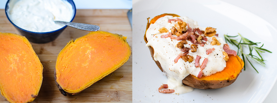 Steamed Sweet Potato with Cream Onions Bacon & Walnuts