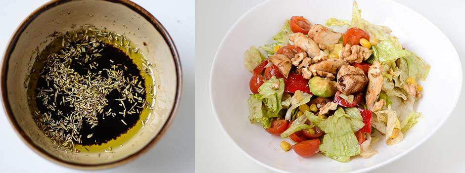 Salad with lemony chicken & avocado