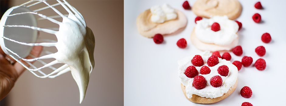 Meringues with homemade whipped cream and Raspberries