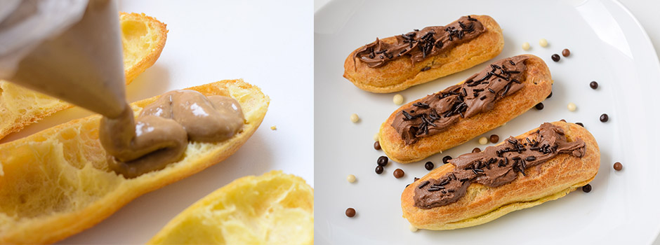 French éclairs with coffee pudding and chocolate