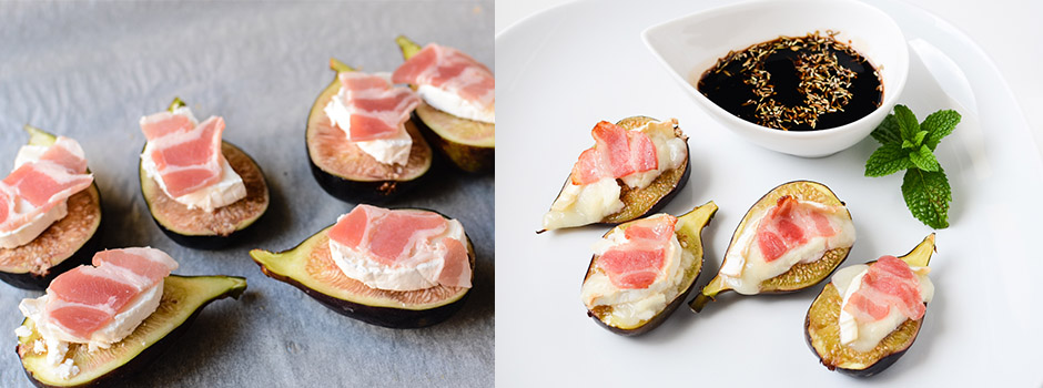 Figs baked with Goat Cheese, Balsamic Vinegar, Honey & Bacon