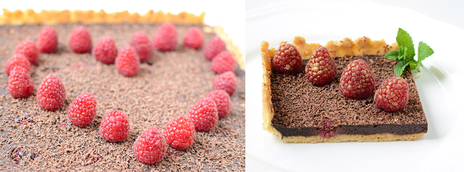Chocolate Pie with Raspberries (fr. tarte au chocolat)