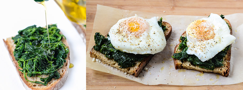 15 minutes Breakfast Recipe: Toast with Spinach and Egg
