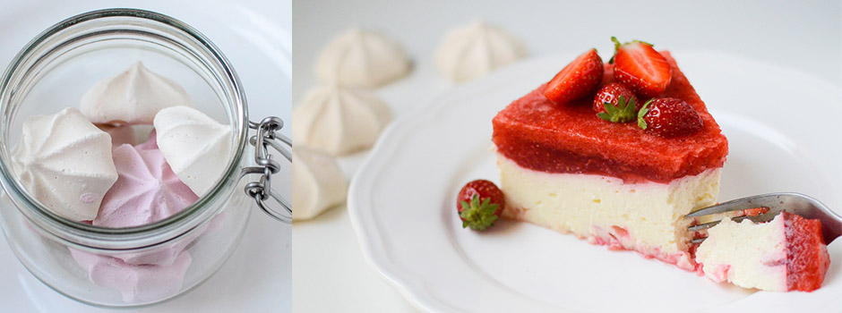 Cheesecake with Meringues & Strawberry mousse
