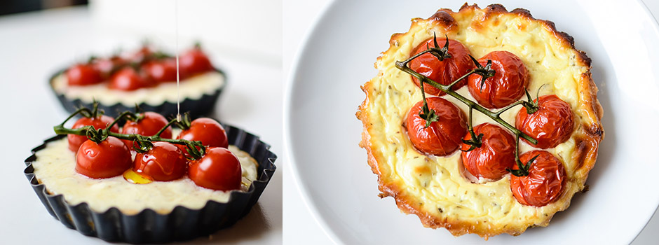 Tartlets with Yogurt, Goat Cheese & Cherry Tomatoes