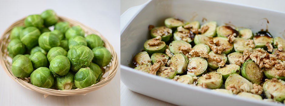 Brussels Sprouts Baked with Walnuts in Honey & Balsamic Vinegar