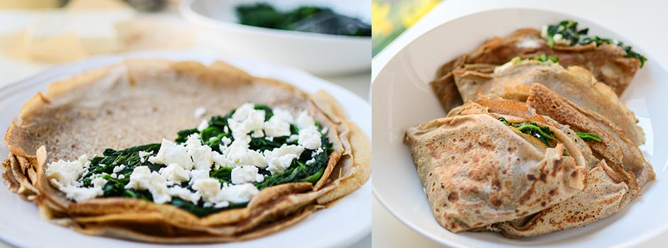 Buckwheat Crepes with Spinach & Feta cheese.