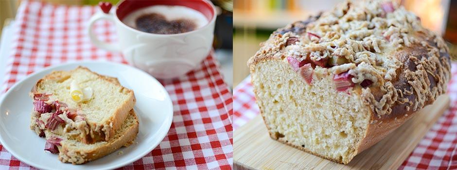 Yeast Cake with Rhubarb & Cinnamon Crumbles