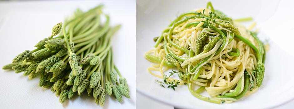 Homemade Thyme Pasta with Wild Asparagus