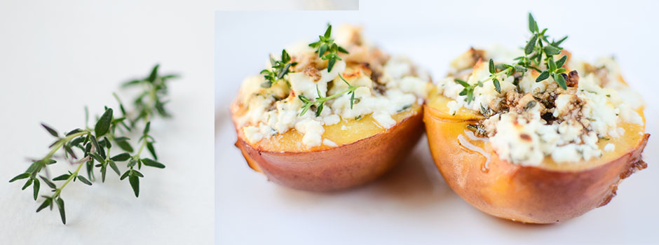 Nectarines baked with Feta Cheese & Thyme