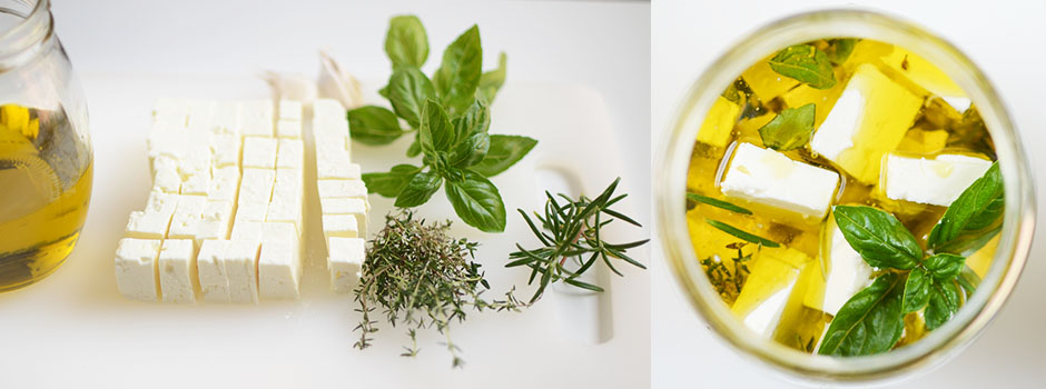 Herbs-Infused Olive Oil Marinated Feta Cheese