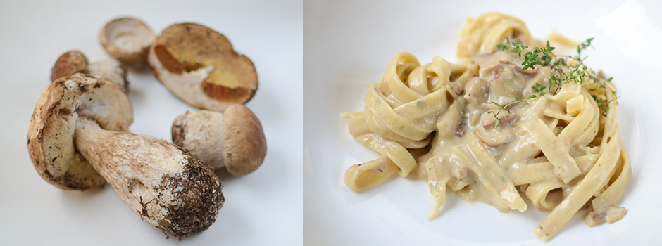 Homemade Thyme Pasta with Mushrooms & White Wine