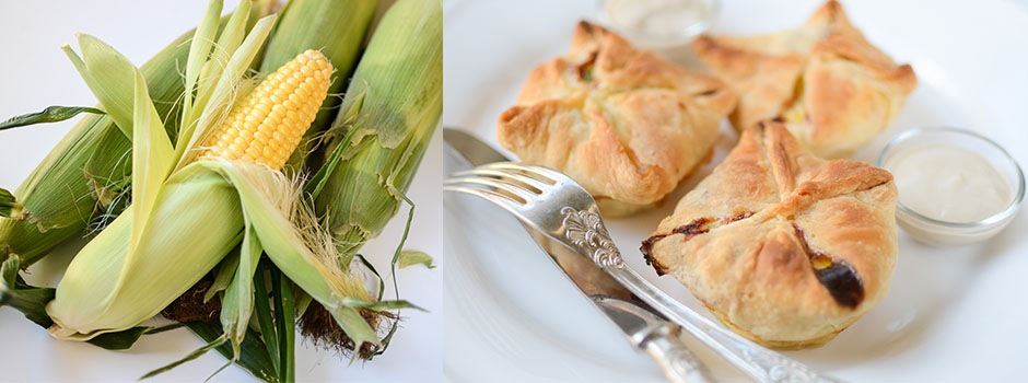 Puff Pastry Pockets with Salmon, Green Peas & Corn